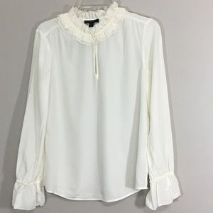 J Crew Ruffled 100% Silk Top Size 6 Ivory #G8267